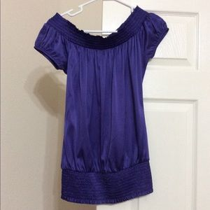 GbyGuess Purple Satin Off Shoulder Blouse SzSmall